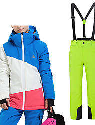 cheap -Girls' Ski Jacket with Pants Camping / Hiking Winter Sports Thermal / Warm Waterproof Windproof Terylene Clothing Suit Ski Wear / Patchwork