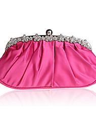 cheap -Women's Bags Silk Evening Bag Crystals Plain Wedding Event / Party Evening Bag Handbags Black Purple Red Fuchsia