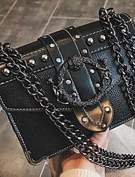 cheap -Women's Chain PU Top Handle Bag Black / Brown / White