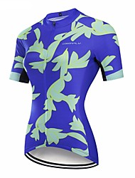 cheap -CAWANFLY Women's Short Sleeve Cycling Jersey Sky Blue+White Floral Botanical Bike Jersey Top Mountain Bike MTB Road Bike Cycling Breathable Quick Dry Back Pocket Sports Terylene Clothing Apparel