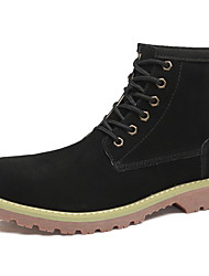 cheap -Men's Combat Boots Leather Winter Boots Booties / Ankle Boots Black / Beige