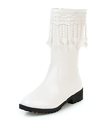 cheap -Women's Boots Low Heel Round Toe Tassel Faux Leather Mid-Calf Boots Casual / Sweet Walking Shoes Spring / Fall & Winter Black / White / Party & Evening