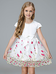 cheap -Kids Toddler Girls' Sweet Cute Floral Solid Colored Lace Bow Mesh Short Sleeve Above Knee Dress White