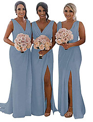 cheap -Mermaid / Trumpet V Neck Sweep / Brush Train Chiffon Bridesmaid Dress with Ruching / Pleats