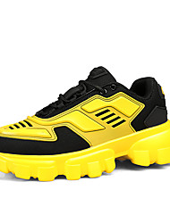 cheap -Men's Comfort Shoes Leather / Mesh Spring / Fall Sporty / Casual Athletic Shoes Running Shoes / Fitness & Cross Training Shoes Non-slipping Color Block Black / Black / Yellow / Orange