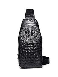 cheap -Men's Embossed Cowhide Sling Shoulder Bag Crocodile Black