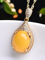cheap -Women's Resin Pendant Necklace Geometrical Pear Fashion Silver Plated Yellow 45+5 cm Necklace Jewelry 1pc For Daily Festival