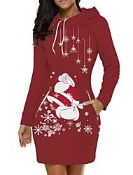 cheap -Women's Wine Red Dress Elegant Christmas Party Shift Animal S M