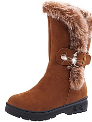 cheap -Women's Boots Snow Boots Flat Heel Round Toe Suede Mid-Calf Boots Winter Black / Camel / Wine