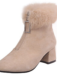 cheap -Women's Boots Snow Boots Chunky Heel Round Toe Suede Booties / Ankle Boots Winter Black / Beige