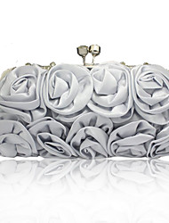 cheap -Women's Flower Silk Evening Bag Solid Color Silver