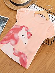 cheap -Kids Toddler Girls' Basic Chinoiserie Unicorn Print Print Short Sleeve Tee White