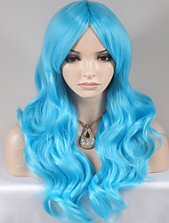 cheap -Synthetic Wig Body Wave Layered Haircut Asymmetrical Wig Long Sky Blue Synthetic Hair 24 inch Women's Fashionable Design Women Blue