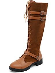 cheap -Women's Boots Flat Heel Round Toe PU Mid-Calf Boots Winter Black / Dark Brown / Yellow