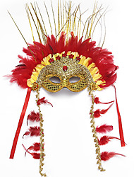 cheap -Feather Venetian Mask Masquerade Mask Half Mask Inspired by Cosplay Golden Halloween Halloween Carnival Masquerade Adults' Women's Female