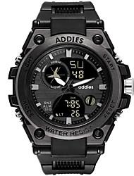 Недорогие -Муж. электронные часы Цифровой Спортивные Черный 30 m Защита от влаги Календарь День дата Аналого-цифровые Мода - Черный Черно-белый Один год Срок службы батареи