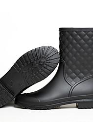 cheap -Women's Boots Rain Boots Flat Heel Round Toe PU Mid-Calf Boots Fall & Winter Black / Gray