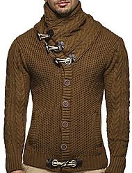 cheap -Men's Solid Colored Long Sleeve Cardigan Sweater Jumper, Turtleneck Black / Camel / Dark Gray US32 / UK32 / EU40 / US34 / UK34 / EU42 / US36 / UK36 / EU44