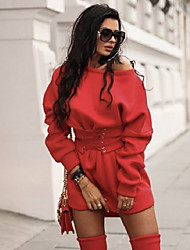 cheap -Women's A Line Dress - Long Sleeve Solid Colored Off Shoulder Basic Daily Wear White Black Red S M L XL