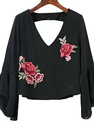 cheap -Women's Daily Weekend Elegant Shirt - Geometric / Solid Colored Rose, Backless / Embroidered / Print Black