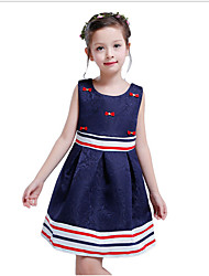 cheap -Kids Toddler Girls' Sweet Cute Floral Bow Sleeveless Above Knee Dress Navy Blue