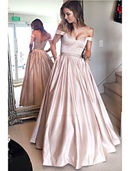 cheap -Ball Gown Off Shoulder Floor Length Satin Cute Prom Dress with Sash / Ribbon 2020