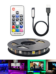 cheap -1set 17 Key Remote 5V USB LED Strip TV 2m RGB Changeable LED Tape Ribbon Flexible TV Background Lighting DIY LED String Light Decoration