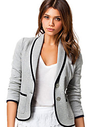 cheap -Women's Daily / Work Basic Fall Regular Jacket, Solid Colored Straight Collar Long Sleeve Polyester Black / Light gray