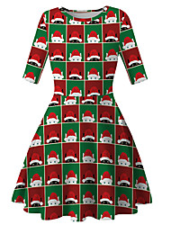 cheap -Kids Girls' Basic Cute Santa Claus Geometric Cartoon Christmas Print Half Sleeve Knee-length Dress Green