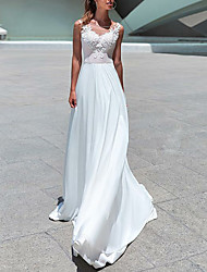 cheap -A-Line Scoop Neck Sweep / Brush Train Chiffon Made-To-Measure Wedding Dresses with Beading / Appliques by LAN TING Express