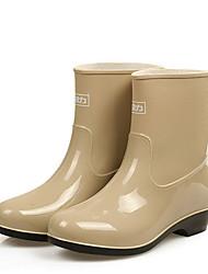 cheap -Women's Boots Rain Boots Flat Heel Round Toe PU Booties / Ankle Boots Fall & Winter Almond / Green / Blue