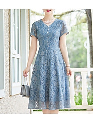 cheap -Women's Lace Plus Size Blue Dress Fall Going out Sheath Solid Colored Blue L XL