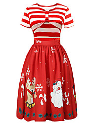 cheap -Audrey Hepburn Dress Christmas Dress Santa Clothes Adults' Women's Dresses Retro Vintage Christmas Christmas New Year Festival / Holiday Polyster Black / Red Women's Carnival Costumes Christmas