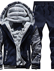 cheap -Men's Embroidered Fleece Tracksuit Sweatsuit Winter Front Zipper Hooded 2pcs Running Fitness Sports Thermal / Warm Windproof Soft Hoodie Jacket and Pants Long Sleeve Activewear Micro-elastic Regular