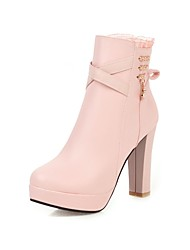 cheap -Women's Boots Chunky Heel Round Toe Rhinestone / Stitching Lace Faux Leather Booties / Ankle Boots Casual / Sweet Walking Shoes Spring / Fall & Winter Black / White / Pink