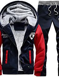 cheap -Men's Stripe-Trim Fleece Tracksuit Sweatsuit Winter Front Zipper Hooded 2pcs Running Fitness Sports Thermal / Warm Windproof Soft Hoodie Jacket and Pants Long Sleeve Activewear Micro-elastic Regular