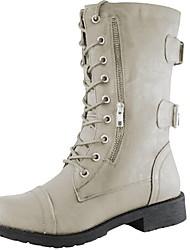 cheap -Women's Boots Flat Heel Peep Toe PU Booties / Ankle Boots Fall & Winter Black / Brown / Beige