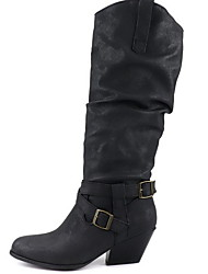 cheap -Women's Boots Comfort Shoes Chunky Heel Round Toe PU Knee High Boots Winter Black / Brown / Yellow