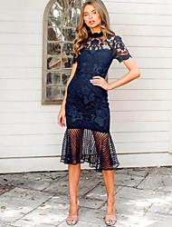 cheap -Women's Sheath Dress - Solid Colored Lace Blue S M L XL