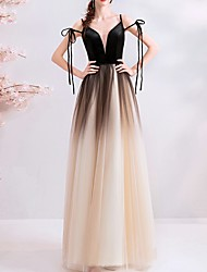 cheap -A-Line Spaghetti Strap Floor Length Tulle Color Block Prom / Formal Evening Dress 2020 with