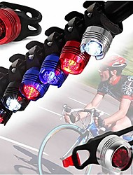 cheap -2pcs LED Bike Bicycle Cycling Front Rear Tail Helmet Red Flash Lights Safety Warning Lamp Safety Caution Light Accessories
