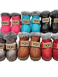 cheap -Dog Boots / Shoes Snow Boots Solid Colored Waterproof Keep Warm Fashion Winter Dog Clothes Silver Gray Black Red Costume PU Leather Suede Mixed Material XS S M L XL