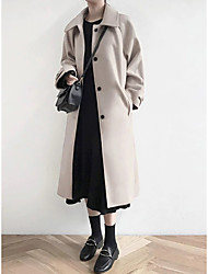 cheap -Women's Daily / Going out Basic Winter / Fall & Winter Long Coat, Solid Colored Turndown Long Sleeve Others Patchwork Black / Beige