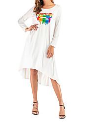 cheap -Women's A Line Dress - Solid Colored Black White Orange S M L XL