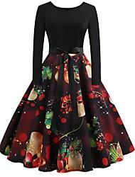 cheap -Women's Black Dress Christmas Party A Line Geometric S M