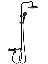 cheap -Exposed Wall Mounted Thermostatic Shower Faucet Set Mixing Valve Copper Black Nordic Shower Room Shower Mixer
