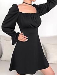 cheap -Women's Vintage A Line Dress - Solid Colored Ruffle Black S M L XL