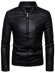 cheap -Men's Daily Spring / Fall & Winter Regular Leather Jacket, Solid Colored Stand Long Sleeve PU Wine / Brown / Black / Slim