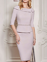 cheap -Sheath / Column Mother of the Bride Dress Plus Size Vintage Bateau Neck Knee Length Polyester Half Sleeve with Beading 2021
