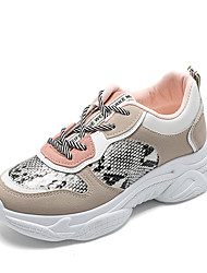 cheap -Women's Athletic Shoes Wedge Heel Round Toe Mesh / PU Sporty / Minimalism Walking Shoes Spring & Summer Black / Beige